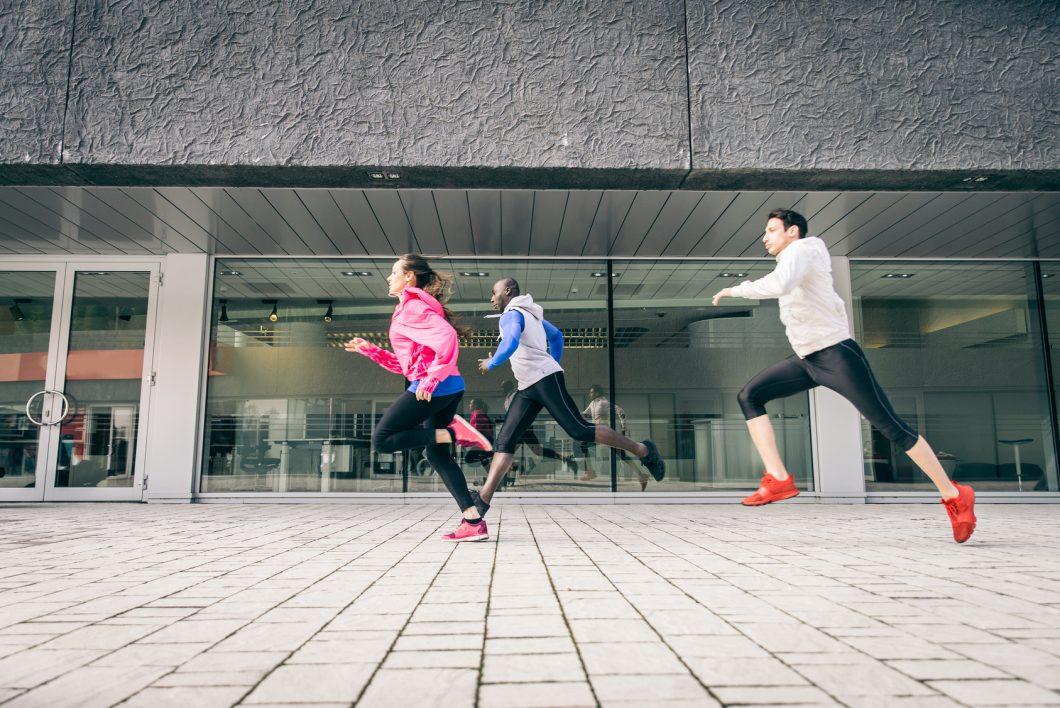 Runners training outdoors